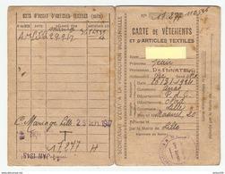 CARTE DE RATIONNEMENT VETEMENTS ET ARTICLES TEXTILES 1944 A 1946 LILLE NORD - VOIR LES 4 SCANS - Documents