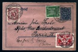 ENTIERS ALLEMAGNE SUR LETTRE 225 Pf AVEC 3 TIMBRES COMPLÉMENTAIRES DIFFERENTS- 1926- POUR FRANCE 2 SCANS - Lettres & Documents