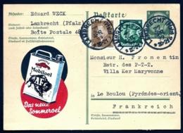 ENTIER POSTAL ALLEMAGNE-POUR FRANCE- POSTKARTE REICH III° AVEC PUB MOBILOEL- ENTIER + 2 TIMBRES - 1933- - Allemagne