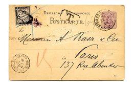 France - Taxe N°16 Sur Entier Carte Allemagne De Strassburg 1885 - TAD RAYON CENTRAL - (B2100) - Marcophilie (Lettres)
