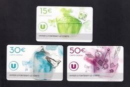 3 Carte Cadeau HYPER U  FONTENAY LE COMTE (85).   Gift Card. Geschenkkarte - Gift Cards
