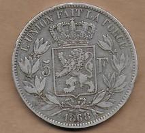 5 Francs Argent Léopold II 1868 - 1865-1909: Leopold II