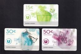 3 Carte Cadeau SUPER U   NOZAY  (44).    Gift Card. Geschenkkarte - Gift Cards