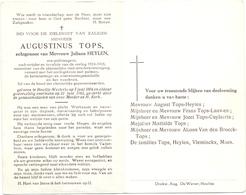 Devotie - Doodsprentje Oudstrijder - Ere Politieagent Augustinus Tops - Heultje Westerlo 1894 - 1963 - Décès