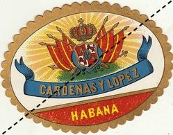 Fin 1800 étiquette Boite à Cigare CARDENA Y LOPEZ - Etiquettes