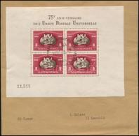 1950 Fogazott UPU Blokk Elsőnapi Levéldarabon (140.000) (foltok A Blokkon / Spots) - Stamps