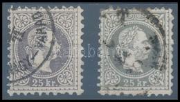 O 1867 25kr Barnás Ibolya és Szürke Ibolya 'NAGY-VÁRAD' Illetve 'PEST' Bélyegzésekkel (135.000) - Stamps