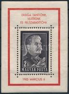 ** 1953 Sztálin Gyászblokk Kézisajtós (130.000) (gumihiba / Gum Disturbance) - Unclassified