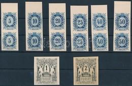 (*) 1874 Távirda Sor, Fogazatlan Próbanyomatok Kartonpapíron, A Krajcáros értékek ívszéli Párokban + A 2 Záróérték / Tel - Stamps