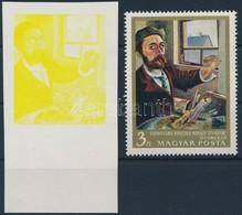 (*) 1967 Festmények III. 3Ft ívszéli Vágott Bélyeg Magenta, Ciánkék, Fekete és Arany Színnyomat Nélkül. A Szakirodalomba - Stamps