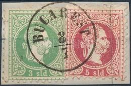 Magyar Posta Romániában 1867 3sld és 5sld Kivágáson 'BUCAREST' - Stamps