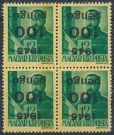 ** 1945 Kisegítő III. 100P/12f Négyestömb Fordított Felülnyomással (60.000) / Mi 819 Block Of 4 With Inverted Overprint - Stamps