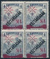 ** * Temesvár I. 1919 1K/4f Fordított 4-es Tömb, Bodor Vizsgálójellel (60.000) - Stamps