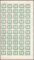 O 1953 50 éves A Magyar Portóbélyeg KIS 2 Ft Hajtott 100-as ív, ívszéli Kettős Fogazással (50.000) - Stamps