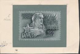 1951 Légrády Sándor MDP Kongresszus Kiadásra Készült Eredeti Bélyegterve,  Szép Ceruza Grafika Temperával Kiegészítve, 1 - Stamps