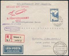 1932 Zeppelin Ajánlott Levél 5P Szóló Bérmentesítéssel 'BUDAPEST' Brazíliába Küldve 8. Dél-amerikai Repülés R! - Stamps