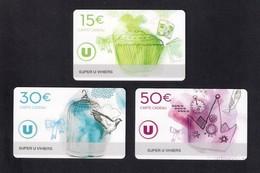 3 Carte Cadeau SUPER U   VIHIERS  (49).    Gift Card. Geschenkkarte - Cartes Cadeaux