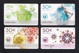 4 Carte Cadeau SUPER U   TIERCE (49).    Gift Card. Geschenkkarte - Cartes Cadeaux