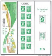 2014 Carnet Adhésif - BC 1521 La LETTRE VERTE A 3 Ans - NEUF - LUXE ** NON Plié - Booklets