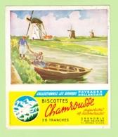 BUVARD Publicité Biscottes CHAMROUSSE , Rue Voltaire GRENOBLE - Paysage Hollandais - 2 Scans - Alimentaire