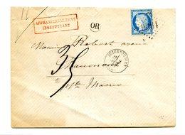 France N°60 Sur Lettre De Juzennecourt (GC 1906) + OR + Affranchissement Insuffisant - (B2103) - Marcophilie (Lettres)