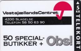 Denmark, P 056, 007 Vestsjællands Centret, Viking On Back, Only 1000 Issued, 2 Scans. - Denmark