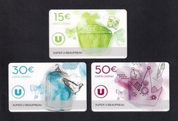 3 Carte Cadeau SUPER U  BEAUPREAU  (49).   Gift Card. Geschenkkarte - Cartes Cadeaux