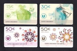 4 Carte Cadeau SUPER U   BEAUMONT SUR SARTHE (72).   Gift Card. Geschenkkarte - Cartes Cadeaux