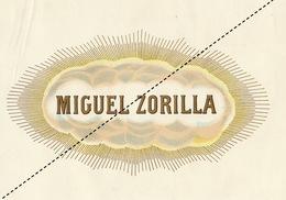 1893-1894 Grande étiquette Boite à Cigare Havane MIGUEL ZORILLA - Etiquettes
