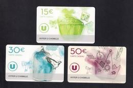 3  Carte Cadeau SUPER U   CHEMILLE  (49).   Gift Card. Geschenkkarte - Cartes Cadeaux