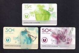 3 Carte Cadeau SUPER U  PORT EN BESSIN (14).   Gift Card. Geschenkkarte - Gift Cards