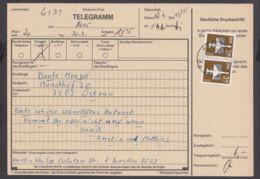 """2868, MeF Mit 2 Werten Auf Telegramm """"Dresden"""", 30.3.87 - DDR"""