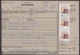 """2981, MeF Mit 3 Werten Auf Telegramm """"Dresden"""", 24.5.87 - DDR"""