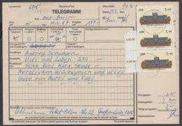 """3035, MeF Mit 3 Werten Auf Telegramm """"Dresden"""", 25.2.87 - DDR"""
