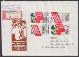 3049, 4er Block Auf R-Brief Dabei Plattenfehler 3049 I - DDR
