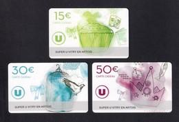 3 Carte Cadeau SUPER U  VITRY EN ARTOIS.   Gift Card. Geschenkkarte - Cartes Cadeaux