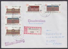 """3067/70 """"Postgebäude"""", R-Brief, Dabei Senkr. 3er ZD Mit Plattenfehler 3069 I - DDR"""