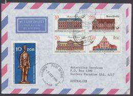 """3067/70 """"Postgebäude"""", 4er Block Mit Zusatzfr. Auf Luftpost Nach Australien Mit Ankunft - DDR"""