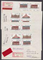 """3067/70 """"Postgebäude"""", VERSCHIEDENE 4er Blocks Auf 4 R-Eilboten Mit Ankunft, Auch Plattenfehler 3069 I Dabei! - DDR"""
