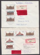 """3067/70 """"Postgebäude"""", VERSCHIEDENE 3er ZD Auf 2 R-Eilboten, Je Plattenfehler 3069 I - DDR"""