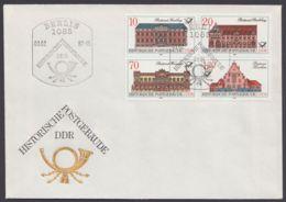 """3067/70 """"Postgebäude"""", 4er Block Auf Pass. Brief Mit ESst, Dabei Plattenfehler 3069 I - DDR"""