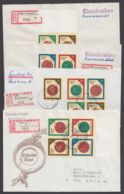 """3156/9 """"Siegel"""", 4 R-Briefe Mit VERSCHIEDENEN 4er Blocks, 1x Auch Leerfelder Unten - DDR"""