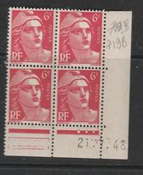 FRANCE N° 721A 6F ROSE CARMINE TYPE MARIANNE DE GANDON COIN DATE DU 21/7/1948 NEUF SANS CHARNIERE - Coins Datés