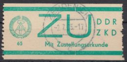 """ZKD : ZU 1, Bedarfsstück, Zentr. """"Zehdenick"""", 2.7.65 - DDR"""
