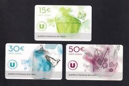 3  Carte Cadeau SUPER U   FAUVILLE EN CAUX  (76).    Gift Card. Geschenkkarte - Cartes Cadeaux