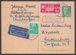 """P 68, Bedarfs-Luftpost Nach Luxemburg, Landpost """"Völkershausen über Hildburghausen"""", 1959 - DDR"""