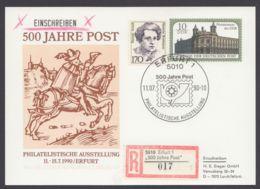 """PP 21 D 2/05 B """"500 Jahre Post"""", Gedruckte Anschrift, R-Karte Mit Guter Zusatzfrankatur - DDR"""