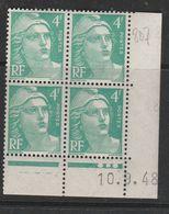FRANCE N° 807 4F EMERAUDE TYPE MARIANNE DE GANDON COIN DATE DU 10.9.1948 NEUF SANS CHARNIERE - Coins Datés