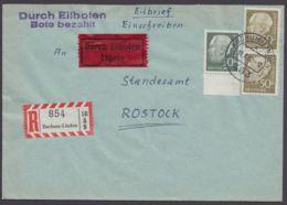 259x, 261, Randstück Und Senkr. Paar, R-Eilboten Nach Rostock, Mit Ankunft - BRD