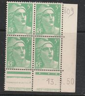 FRANCE N° 809 5F VERT CLAIR TYPE MARIANNE DE GANDON COIN DATE DU 13.1.1950 NEUF SANS CHARNIERE - Coins Datés